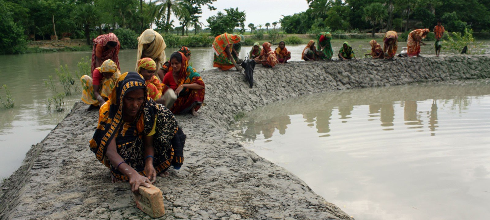 Women building Small Dam cum Road